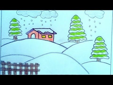 رسم منظر طبيعي سهل بالقلم الرصاص رسم فصل الشتاء How To Draw Winter Youtube