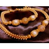 Pearl Polki Stylo Gold Plated Anklets