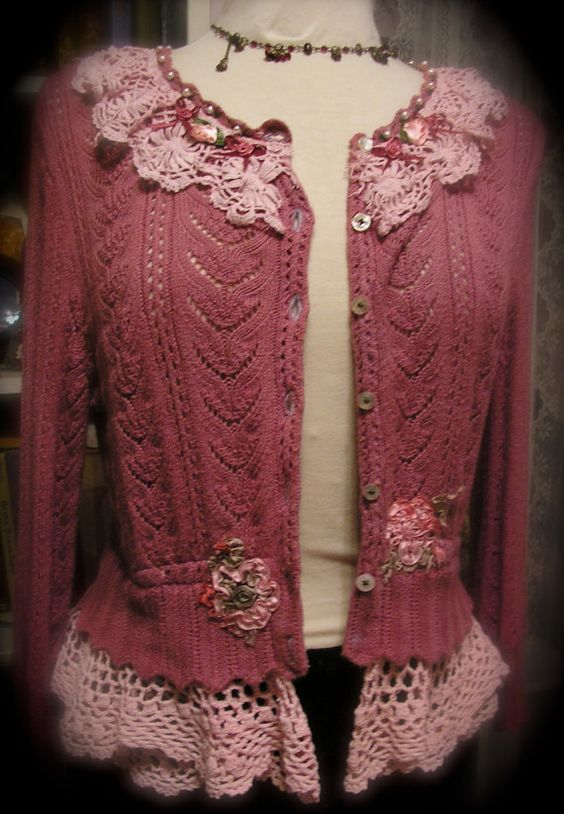 lace and..shabby chic sweater: