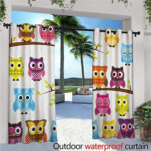 Nursery Outdoor Privacy Curtain For Pergola Set Of Patchwork Quilt Style Owls On Branches With Gree Outdoor Curtains For Patio Quilt Comforter Nursery Curtains