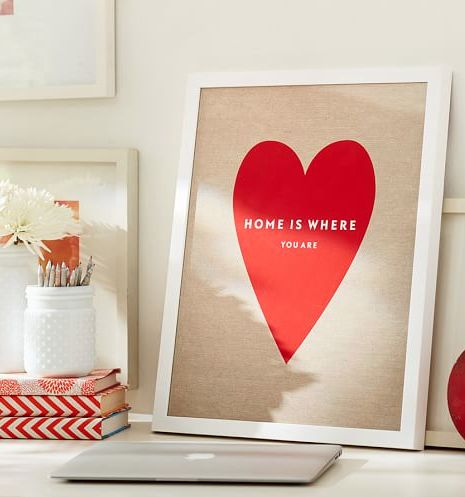 heart shaped 'home is where you are' print