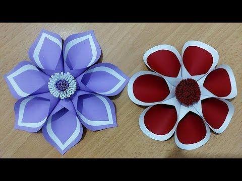 طريقة بسيطة لعمل ورد من الورق اعمال يدوية اعمال فنية Fiore Fatto Di Carta Youtube Crafts Flowers Art
