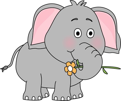 Elephant with a Flower Clip Art Image - elephant holding a flower with ...