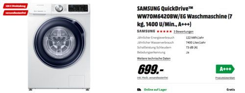 Samsung Quickdrive Ww70m642obw Eg Waschmaschine 7 Kg 1400 U Min A Inkl 100 Coupon Waschmaschine Kuche Und Haushalt Und Samsung