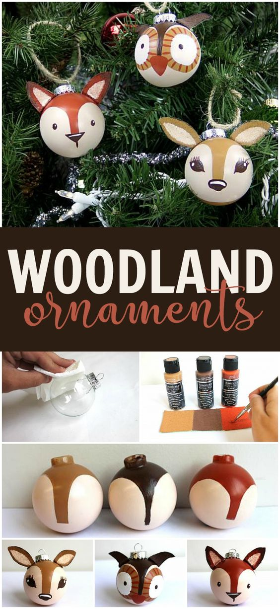 DIY Woodland Creatures Christmas Tree Keepsake Ornaments | DecoArt - Grab some plain round ornaments and transform them into cute woodland creatures to hang from the tree!