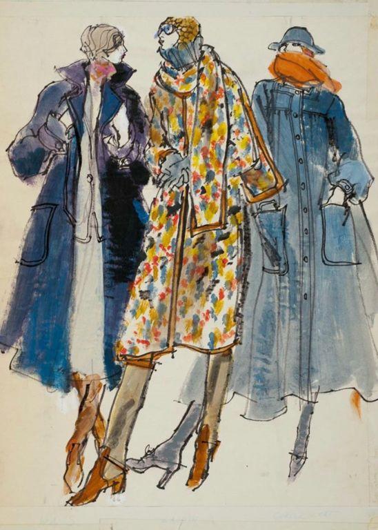 By Kenneth Paul Block, 1 9 7 4, Three models in fall coats by Ilie Wacs,  Bonnie Cashin, Victor Joris, W Magazine.
