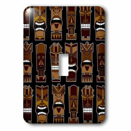3dRose Cute Tiki Mask Print Large - Brown on Black, Double Toggle Switch