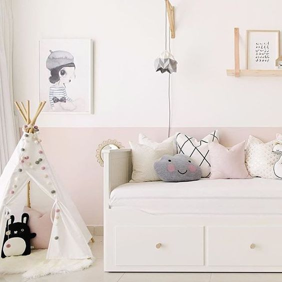 Such a dreamy room! Love the half painted wall and the soft tones! ✨ can you spy little Riceberry taking a nap inside the teepee? 💕 pic via @houseofhawkes  #kidsdecor #kidsroom #kidsinteriors #nursery #nurserydecor #babygirlroom #noodoll #barnrum #barnruminspo: