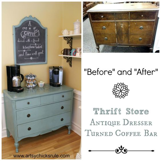 Coffee Bar Before and After - Annie Sloan Chalk Paint® #chalkpaint #anniesloan #antiques #dresser #shabby #coffee: