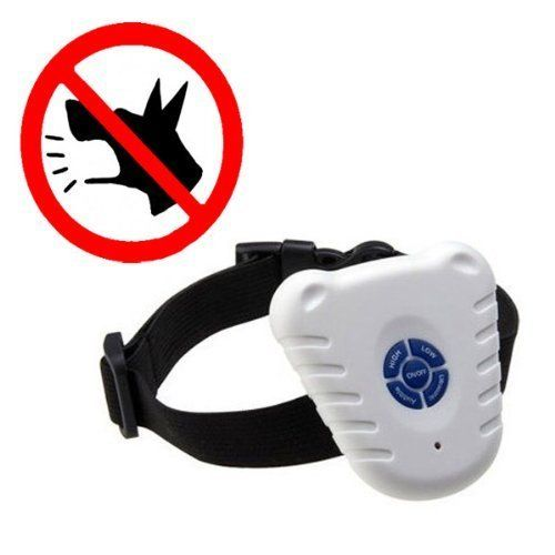 T-shin Ultrasonic Bark Stop Collar(White). Control your dog and train him to behave. Suits for all dogs. Triggers accurately by Bark Vibration. Water resistant construction. Ultrasonic and audible selections.