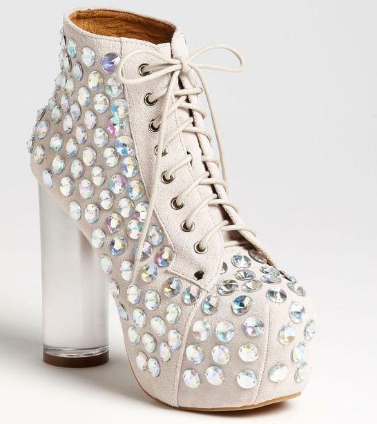 White rhinestone ankle boots Chiq.com