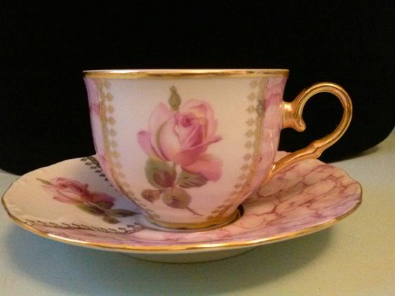 CZECHO Fine Bone China Pink Rose Tea Cup and by WhimsnBaubles
