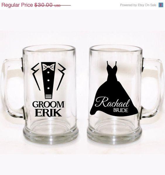 Customized Wedding Beer Glasses : Glasses, Custom Wedding Glasses, Custom Beer Glass, Personalized Beer ...