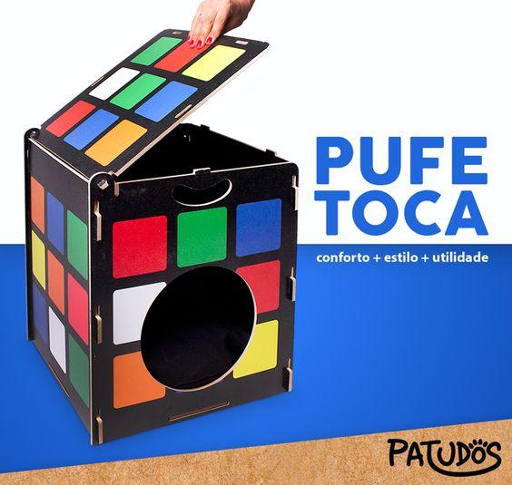 Pufe-toca cubo mágico para gatos de donos moderninhos! #patudos #pet #gato #felino #decoracao #design #petshop