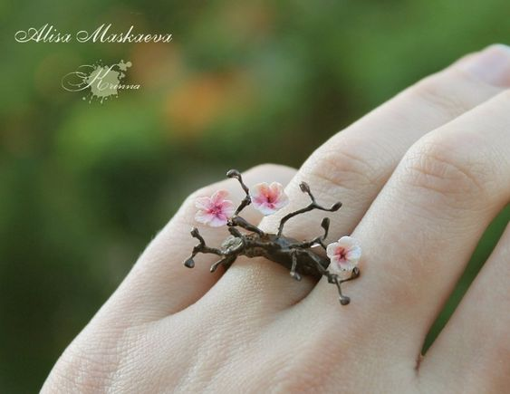I want it.  Sakura ring from polymer clay by ~Krinna on deviantART