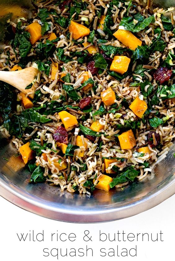 Wild rice & butternut squash salad, with spinach and dried cranberries.