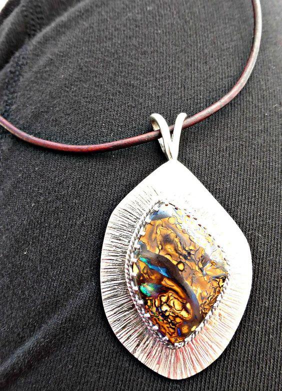 Koroit boulder opal. Fine silver, Sterling silver gemstone pendant necklace.  High quality stone.