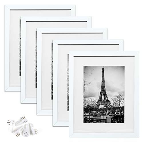 Upsimples 11x14 Picture Frame Set Of 5 Display Pictures 8x10 With Mat Or 11x14 Without Mat Wall In 2020 11x14 Picture Frame Photo Frame Gallery Painted Picture Frames