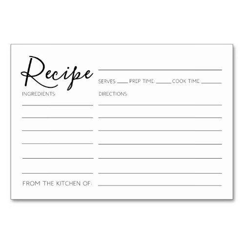 Modern Minimalist Recipe Cards Bridal Shower Zazzle Com Recipe Cards Recipe Cards Template Printable Recipe Cards