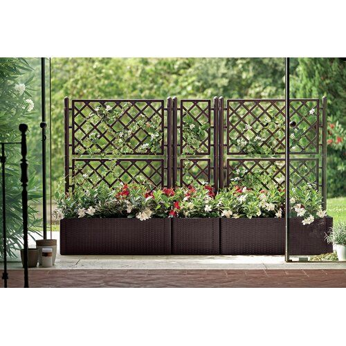 1 5 Ft H X 1 5 Ft W Artificial Moss Fence Panel Planter Box With Trellis Planter Boxes Plastic Planter Boxes
