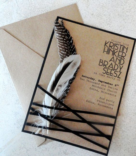 Indian Summer Feather Wedding Invitation with Envelope Rustic Kraft and Black Feather Wedding Invite (FREE SHIPPING within the US). $5.95, via Etsy.