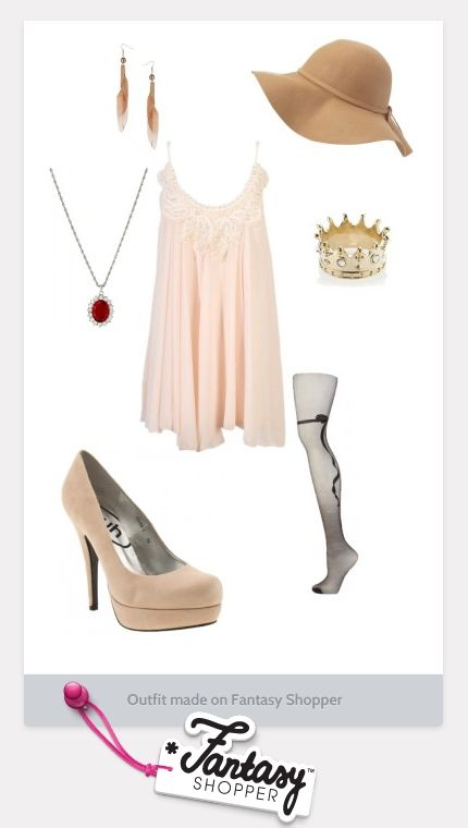 Pretty nude outfit, with a dash of red!