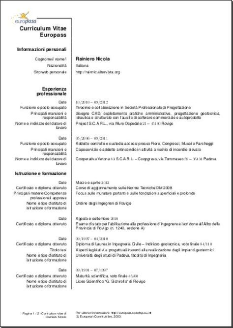 Cv Template Italiano Curriculum Vitae Modello Cv