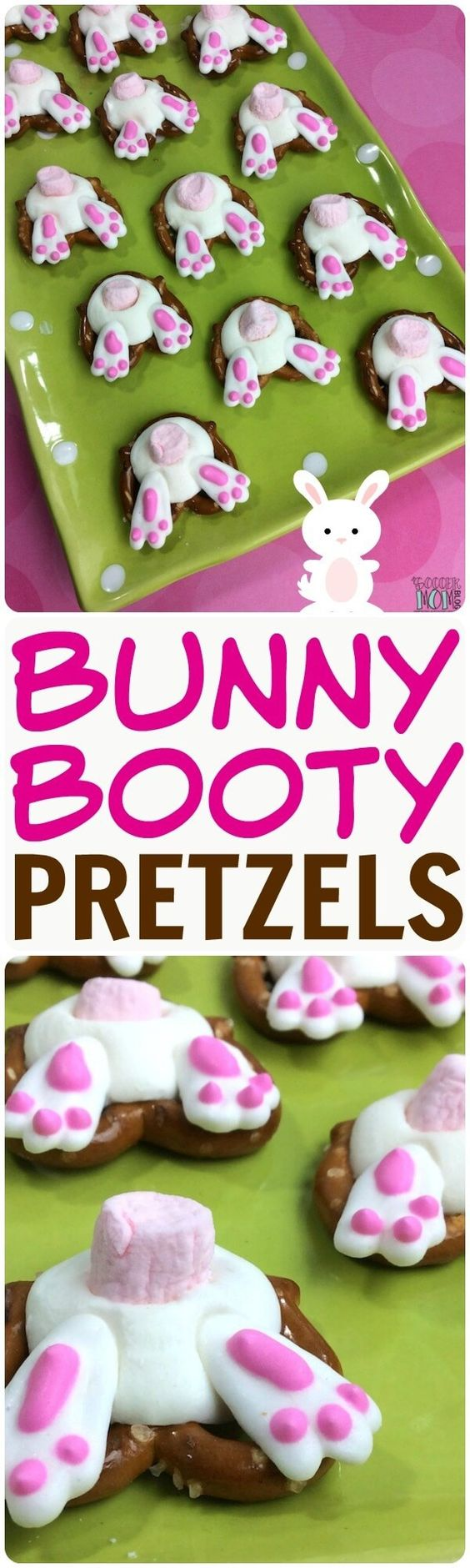 An easy Easter recipe that kids of all ages can help make - Bunny Butt Pretzels are adorable and delicious! Perfect for holiday parties or dessert gifts.: