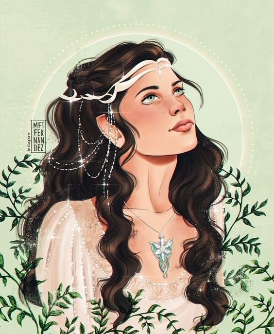 """And she endures making the world green where she walks..."" // ""E ela persiste tornando verde o mundo por onde anda...""  Após quase 12h de ""Senhor dos Anéis"" não resisti a fazer uma #fanart: Arwen Undómiel elfa e rainha . . .  After almost 12 hours of ""Lord of the Rings"" I could not resist making a #fanart. And this pretty lady is Arwen Undómiel: elf and queen . . .  #LordOfTheRings #SenhorDosAnéis #digitalart #artofvisuals #character #elf #arwen #art #fantasy"