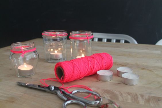 Easy to spruce up some jars as tea light candle holders: Pink Twine, Tea Light Candles, Diy Crafts, Hardware Stores, Diy And Crafts, Candle Holders, Fluorescent Pink, Craft Ideas, Tea Lights