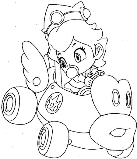 how to draw baby princess peach driving her car from wii mario kart art drawing pinterest