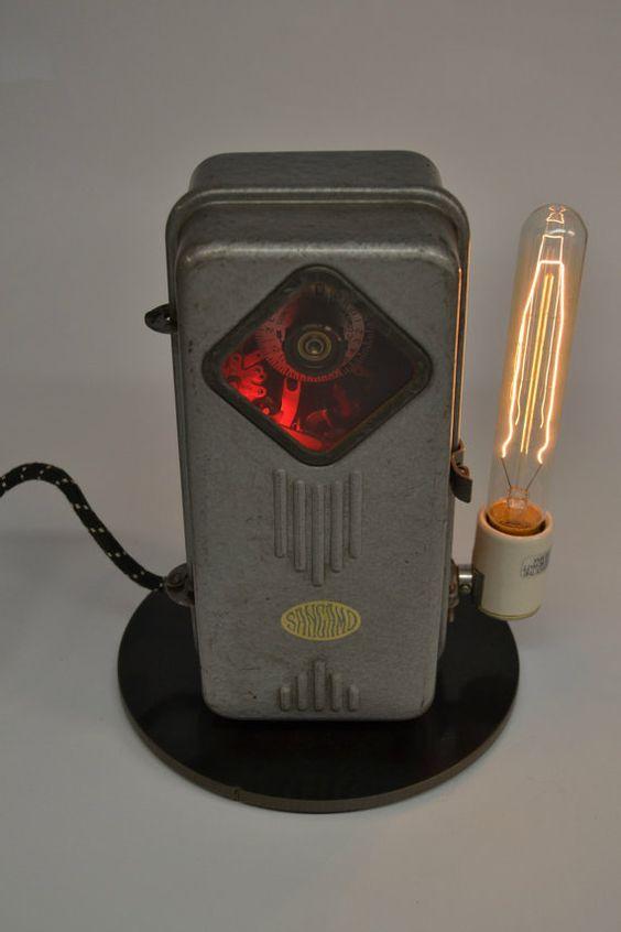 Repurposed Vintage Industrial Desk Lamp Art Deco Lighting Man Cave Decor Minimalist Sangamo Electrical Co