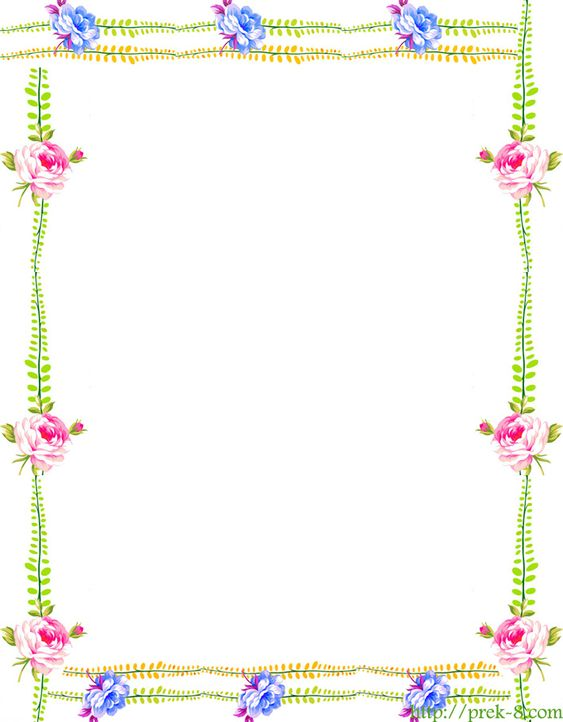 free printable Japanese floral art – Writing Paper Template with Borders