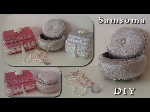 طريقة عمل علب مجوهرات العروس بستايل تركي Youtube Silk Ribbon Embroidery Patterns Diy Gift Box Fabric Boxes