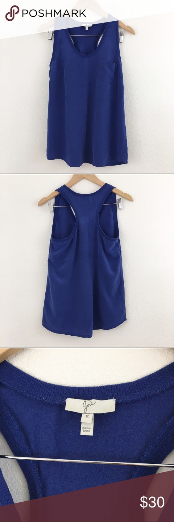 """Joie racerback silk tank Joie racerback tank with front pocket and rounded hem. 100% silk. Measures approx 17"""" armpit to armpit, 25"""" from shoulder seam down to hem. No rips or tears but there is a loose seam in 1/4"""" area at bust (see last photo). Color is similar to a muted royal blue. Joie Tops Tank Tops"""