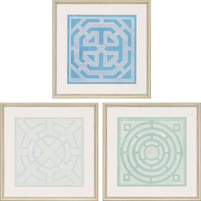 Paragon Ornamentals II by Vision Studio 3 Piece Framed Graphic Art Set