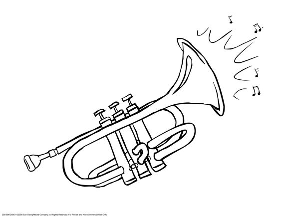 Trumpet addie 39 s musical instruments pinterest for Trumpet coloring page
