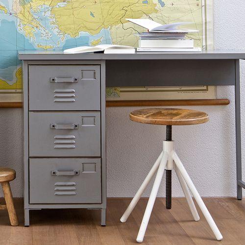 Bureau en m tal gris 3 tiroirs vintage max decoclico for Petit bureau gris