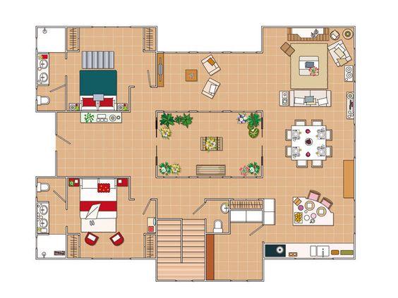 Plano casa en torno a un patio interior mis proyectos for Planos de casas con patio interior