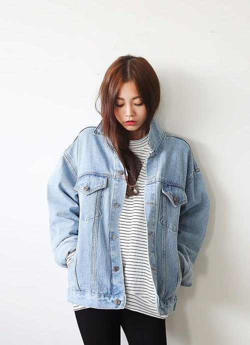 Cute fall outfit with the striped top oversized denim jacket and
