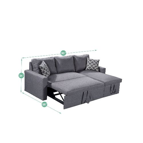Husky Zara Reversible Sectional Sofa 3 In 1 Sofa Bed Storage Grey Best Buy Canada Bed Linens Luxury Sofa Bed With Storage Bed Storage