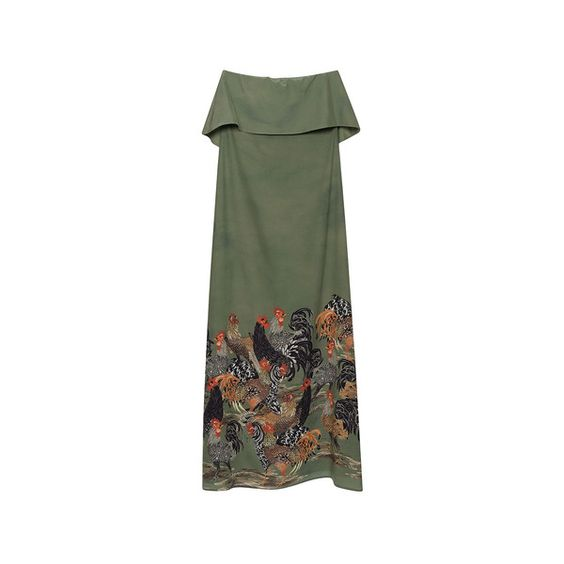 Stella Jean     Opposto Long Bustier Dress ($1,080) via Polyvore featuring dresses, long length maxi dresses, green dress, long maxi dresses, long dresses and strapless maxi dress