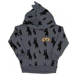 Grijze trui met kap en konijntjes - Beau Loves