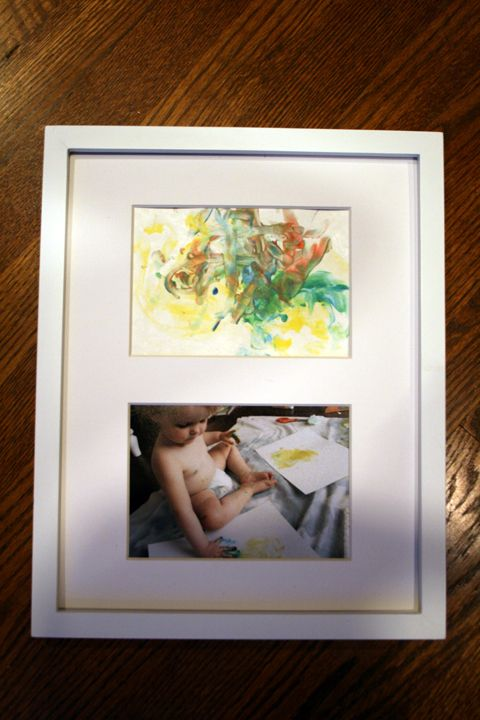 Great gift idea for grandparents.   Take pics while painting.  In a double matted frame, include pic of him painting, plus his artwork!