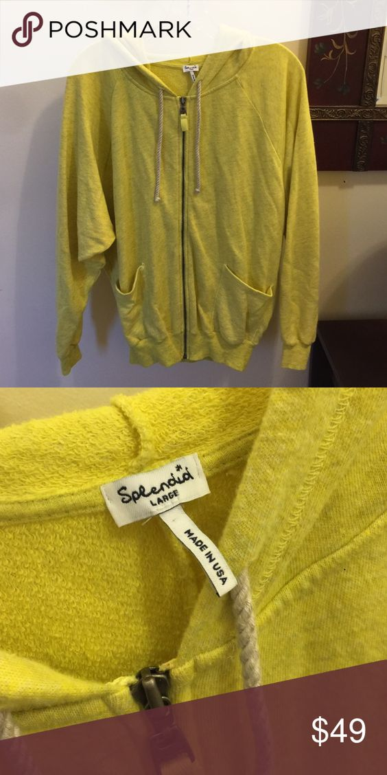 Splendid Large hooded sweater sweatshirt top Yellow, like new, non smoking house Splendid Tops Sweatshirts & Hoodies