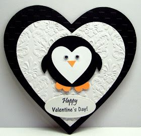 Handmade valentine card punch art penguin with a heart for Cute valentines day cards homemade