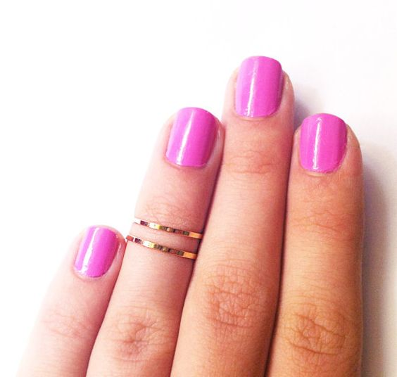 2 Above the Knuckle Rings - gold plated thin shiny rings - set of 2 stackable midi rings size 3