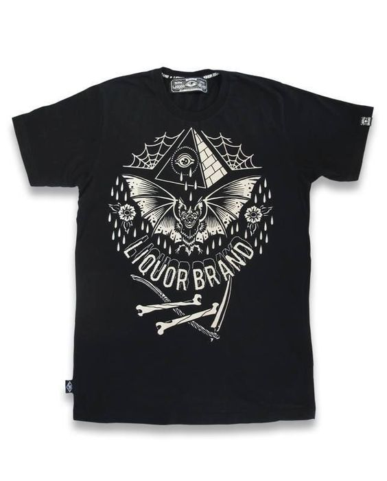 Liquor Brand T-Shirt Bat.Oldschool,Rockabilly,Biker,Tattoo,Custom Clothing Style