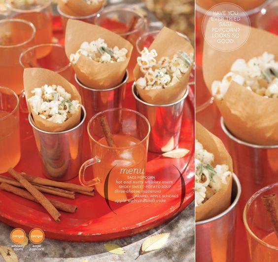 sage popcorn, whisky sours, sweet potato soup: Sweet Potato Soup, Sours Sweet, Nice Idea