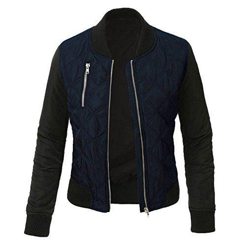 Minetom Femme Mode Coutures Chaud Blouson Cool Bomber Veste Aviateur Classique Matelass/é Vintage Manteaux Jacket Coat Biker Moto Zipper Courtes